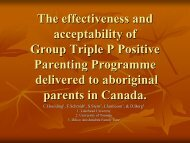 Impact and acceptability of Group Triple P for - Parenting and Family ...