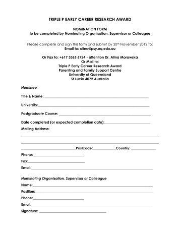 Nomination Form - Parenting and Family Support Centre - University ...