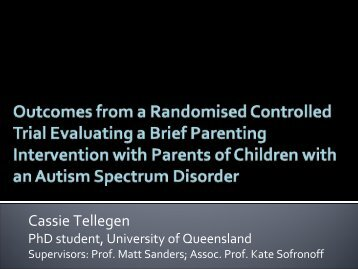 Outcomes from an RCT of a Brief Intervention with Parents of ...