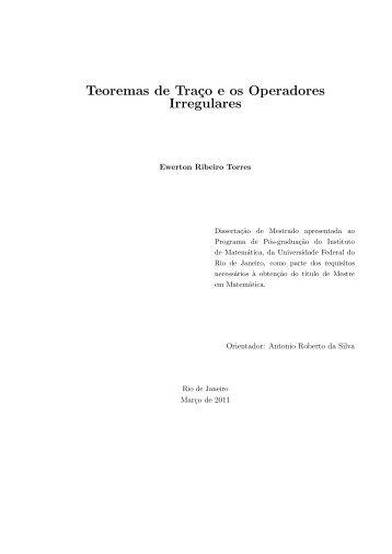 Teoremas de Traço e os Operadores Irregulares - Pós-Graduação ...
