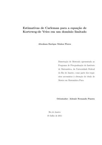 Estimativas de Carleman para a equaç˜ao de Korteweg-de Vries em ...