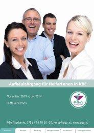 Aufbaulehrgang für HelferInnen in KBE - PGA