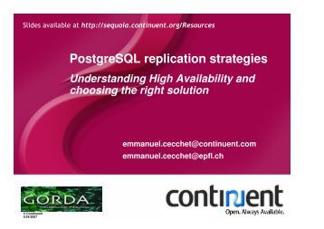 PostgreSQL replication strategies - PGCon
