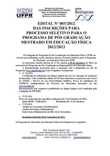 edital nº 003/2012 das inscrições para processo seletivo para o ...