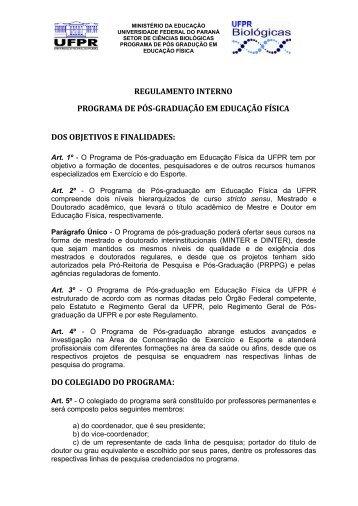 Regulamento PPGEDF / 2012 - UFPR - Universidade Federal do ...