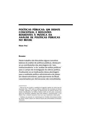 POLÍTICAS PÚBLICAS: UM DEBATE CONCEITUAL E ... - Ipea