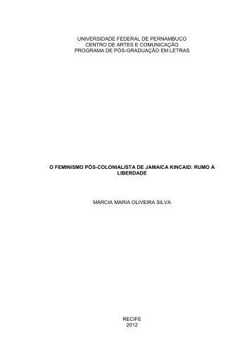 O Feminismo Pós-Colonialista De Jamaica Kincaid - UFPE PPGL