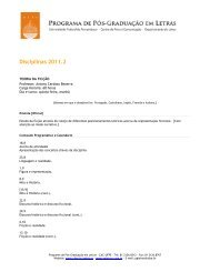 Disciplinas 2011.2 - Programa de Pós-Graduação em Letras da ...