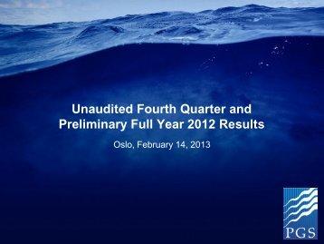 Q4 2012 presentation - PGS
