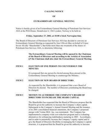 Calling Notice for Extraordinary General Meeting - PGS