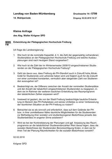 Entwicklung der Pädagogischen Hochschule Freiburg (.pdf)