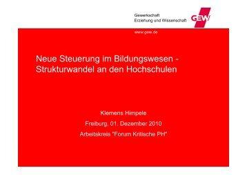 Strukturwandel an den Hochschulen - (PH) Freiburg