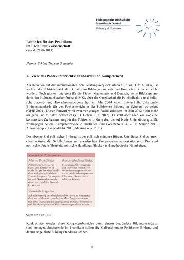 Leitlininen für das Praktikum im Fach Politikwissenschaft