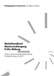 Modulhandbuch - Pädagogische Hochschule - Schwäbisch Gmünd