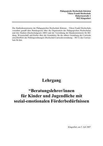 Beratungslehrer/innen für Kinder - Pädagogische Hochschule Kärnten