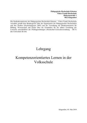 Kompetenzorientiertes Lernen in der Volksschule - Pädagogische ...