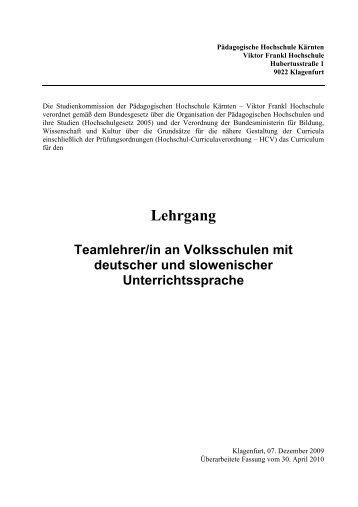 download des Curriculums - Pädagogische Hochschule Kärnten
