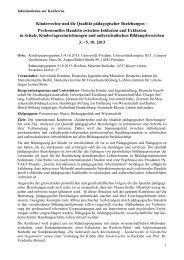 Vorabinformation zur Konferenz Paedagogische Beziehungen