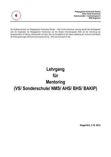 Mentoring - Pädagogische Hochschule Kärnten