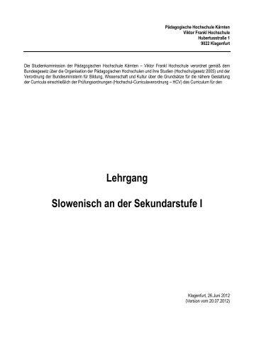 Slowenisch an der Sekundarstufe I - Pädagogische Hochschule ...