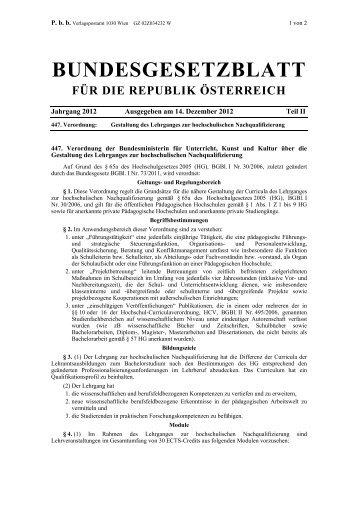 Verordnungsblatt des BMUKK - Pädagogische Hochschule Kärnten