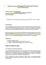 Studienordnung der Pädagogischen Hochschule Karlsruhe für die ...