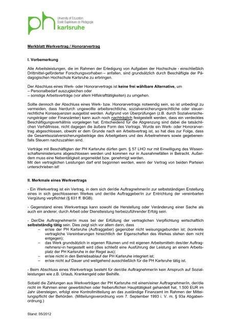 Merkblatt Werkvertrag Honorarvertrag I Vorbemerkung Alle