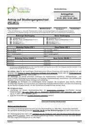 Antrag auf Studiengangwechsel - Pädagogische Hochschule ...