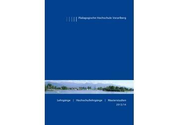 Weiterbildung 2013 - neu.indd - Pädagogische Hochschule Vorarlberg