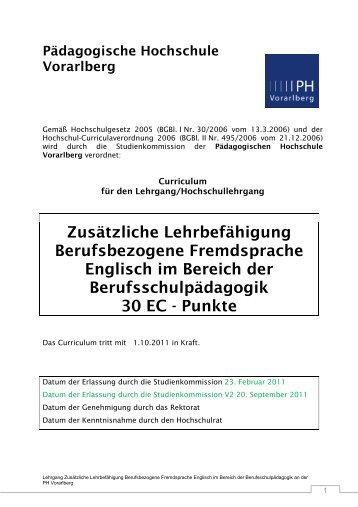 PHV LG Berufsbezogene Fremdsprache Englisch an Berufsschulen ...