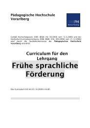 Frühe sprachliche Förderung - Pädagogische Hochschule Vorarlberg