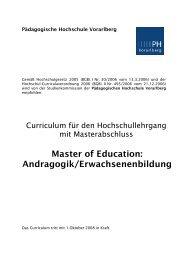 Master of Education: Andragogik/Erwachsenenbildung