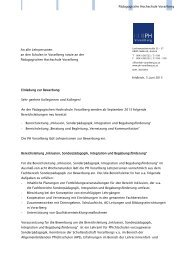 Pädagogische Hochschule Vorarlberg Einladung zur Bewerbung ...