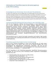 Information zur Nostrifizierung - Pädagogische Hochschule Vorarlberg