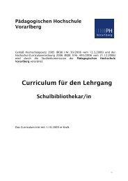 Schulbibliothekar/in (12 EC) - Pädagogische Hochschule Vorarlberg