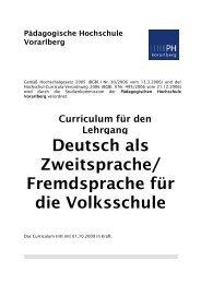 Curriculum DAZ_DAF - Pädagogische Hochschule Vorarlberg