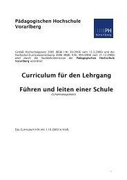 Curriculum Führen und Leiten einer Schule - Pädagogische ...