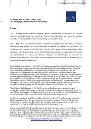 Erasmus Policy Statement der Pädagogischen Hochschule ...