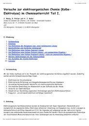 Versuche zur elektroorganischen Chemie (Kolbe- Elektrolyse) im ...