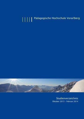 WS 2013-14 Beta 7.indd - Pädagogische Hochschule Vorarlberg