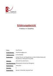 Bericht 2 - Pädagogische Hochschule Weingarten