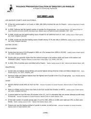 Violence Prevention Coalition of Greater Los Angeles FACT SHEET ...