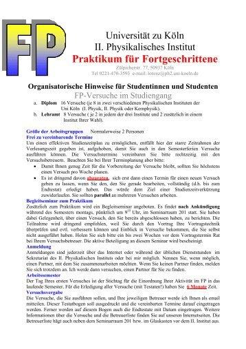 Allgeneine Hinweise zum Praktikum - II. Physikalisches Institut ...