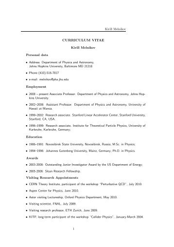 cv. - Henry A. Rowland Department of Physics & Astronomy - Johns ...