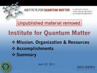 Institute for Quantum Matter