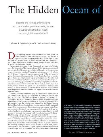 The Hidden Ocean of Europa - Scientific American Digital