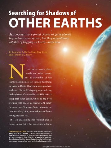 Searching for Shadows of Other Earths