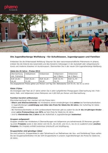 Die Jugendherberge Wolfsburg - für Schulklassen ... - Phaeno