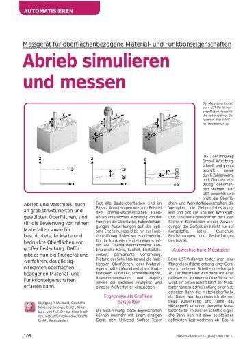 Abrieb simulieren und messen - Plastverarbeiter