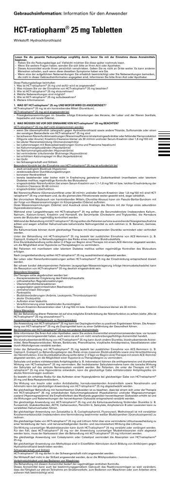 HCT-ratiopharm® 25 mg Tabletten - pharma-fuchs.de